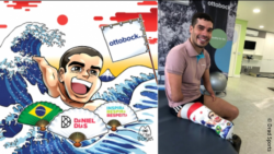 Photo: Daniel Dias with his prosthetic leg and the manga design; Copyright: Drad Sports