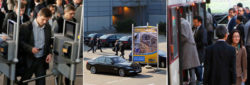 Photo: collage - parking, arrival and entry at the trade fair Düsseldorf