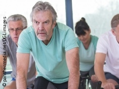 Photo: Different people in spinning class