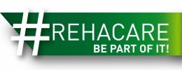 "Graphic: Brand of #REHACARE and the slogan ""Be part of it!"" on a green arrow"