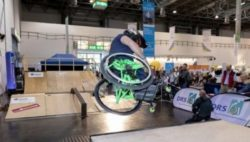 Photo: Aaron Fotheringham skating in the skate park at REHACARE