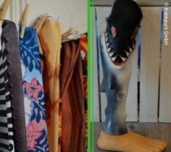 Photo: A collage showing the shark prosthesis and stockings in different designs; Copyright: frankpurk GmbH