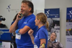 Photo: Two CYBATHLON contestants talking about their experiences during the race; Copyright: beta-web/Hofmann
