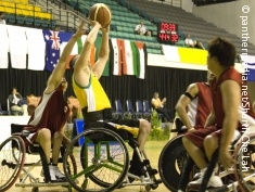 Photo: Wheelchair basketball players in action