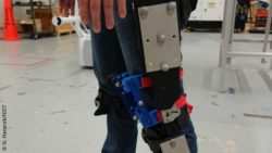 Image: A person wearing an exoskeleton with different sensors; Copyright: N. Hanacek/NIST