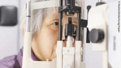 Photo: Senior woman undergoing eye test; Copyright: PantherMedia/leungchopan