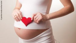 Photo: Pregnant woman holding a toy heart in front of her belly; Copyright: panthermedia.net/bartoshd