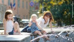 Photo: Two girls with her mom at a fountain on a hot day; Copyright: PantherMedia/MNStudio