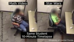 Photo: Child with ADHD watching a Math-Video (on the left) and Star Wars movie (on the right); Copyright: Children's Learning Clinic, University of Central Florida