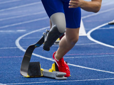 Photo: Athlete with leg prosthesis