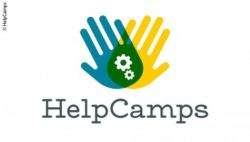 Image: The HelpCamps logo - two hands overlapping with a gear wheel in the middle; Copyright: BGG Arbitration Body