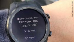 Photo: Display of the smartwatch app with a notification about a car honk; Copyright: Jain et al./ASSETS 2020