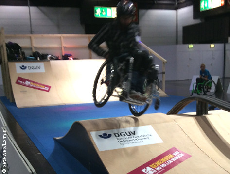 Photo: David Lebuser in a skate park at REHACARE 2015