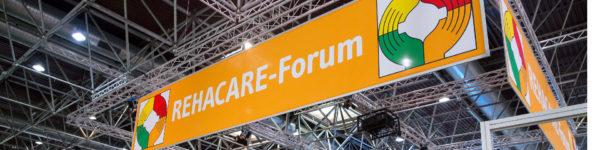 Photo: Banner above the forum area with the inscription: REHACARE Forum