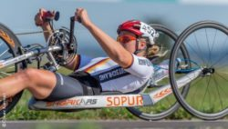 Photo: Christiane Reppe with her handbike; Copyright: Oliver Kremer