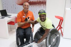 Photo: Erol Marklein and Alhassane Baldé at REHACARE 2018; Copyright: beta-web/Hofmann