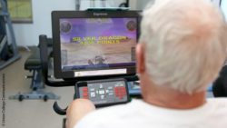 Photo: Participant playing an exergame; Copyright: Union College Communications