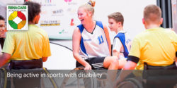 Photo: Three young people play wheelchair basketball; Copyright: Messe Düsseldorf