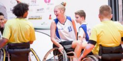 Photo: Young women and men after game of wheelchair basketball; Copyright: Messe Düsseldorf