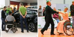 Photo collage: Wheelchair user gets information from exhibitors about a customized car, wheelchair dance couple while dancing; Copyright: Messe Düsseldorf/ctillmann