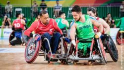Photo: Wheelchair rugby between Brazil and Great Britain at the 2016 Paralympics in Rio de Janeiro; Copyright: Andi Weiland | Gesellschaftsbilder.de