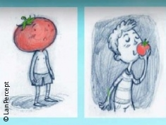 Graphic: Boy with a tomato head and a tomato in his hand