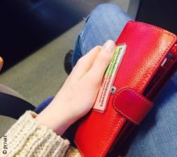 Photo: Leonie Höpfner holding her disabled person's pass and purse while in a train ; Copyright: private