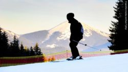 Photo: Silhouette of an athlete skiing on a competition route; Copyright: panthermedia.net/Ivan Tykhyi