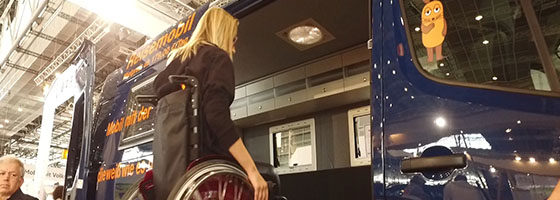 Photo: Woman in a wheelchair entering an accessible campervan; Copyright: REHACARE.com