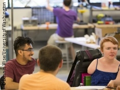 Photo: People in an accessible makerspace
