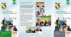 Grafik: Cover and first page of the visitor information brochure for REHACARE 2017