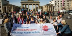 Photo: People with disabilities during a protest campaign in Berlin, Germany; Copyright: Jörg Farys | Gesellschaftsbilder.de