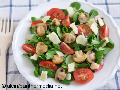 Photo: Salad with mushrooms, cheese and tomatoes