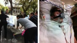 Photo-Collage: Left: Transporting participants from the hospital to the test room. Right: JV in the test room.; Copyright: Wijesuriya et al.