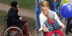 Photo: Ju Wheelymum in her wheelchair (left) and with her child (right); Copyright: private
