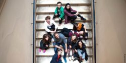 Photo: The whole team sitting on stairs; Copyright: Jana Hesse