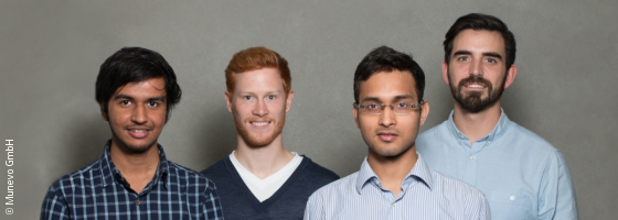 Photo:  The Munevo team (from the left): Aashish Trivedi, Konstantin Madaus, Deepesh Pandey, Claudiu Leverenz ; Copyright: Munevo GmbH