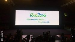 Photo: Screen with the official slogan for Rio 2016: A new world