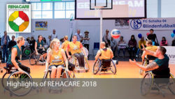 Photo: Several men and women playing wheelchair basketball in the REHACARE Sports Center; Copyright: Messe Düsseldorf