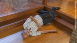 Photo: Elderly man lying on the floor after falling; Copyright: American College of Emergency Physicians