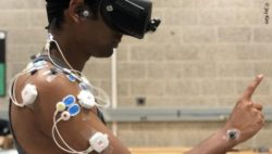 Photo: Motion capture and electromyography sensors measure a study participant's movement and muscle activity; Copyright: Jay Kim