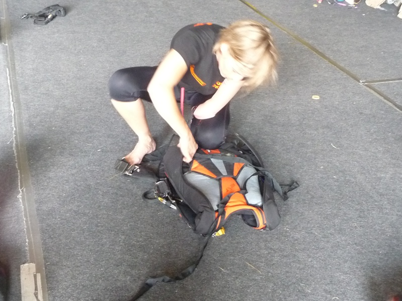 Photo: Claudia Breidbach is packing her parachute