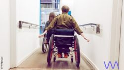 Photo: Two wheelchair users with wheelchairs that have integrated the WheelAir system; Copyright: WheelAir
