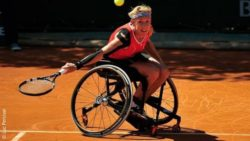 Image: Sabine Ellerbrock during wheelchair tennis; Copyright: Luc Percival