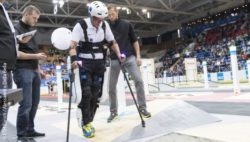 Photo: Exoskeleton user on the CYBATHLON race track, EXO Team Varileg, Zurich 2016; Copyright: ETH Zürich / Alessandro Della Bella