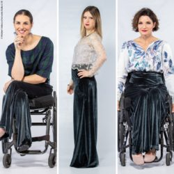Photo: 2 models in wheelchairs, one model with trisomy 21 - all 3 wear the same trousers; Copyright: Michael Atkinson/Samanta Bullock SB