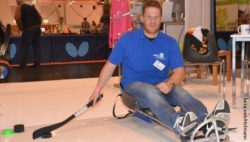 Photo: Christian Jaster on the roller sled; Copyright: beta-web/Hofmann