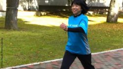 Photo: Female Participant doing Interval Walking Training; Copyright: Shizue Masuki, Shinshu University