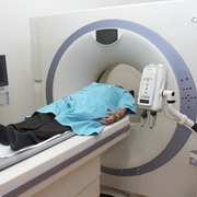 Photo: Patient at a computerised tomography