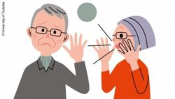 Graphic: Shows an older couple. She is telling him something but he can't hear it; Copyright: University of Tsukuba